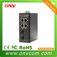 High Reliability smart 2 fiber port gigabit 4 port poe switch poe
