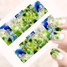 NEW 1sheet Beauty Flower Full Cover Stickers Nail Art Full Tips Decorations Nail Stickers Decals Wraps Patch Watermark