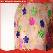The colorful flower design embroidered in organza fabric for window curtain