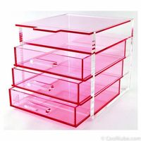 special storage drawer box for cosmetic, high quality handmade black acrylic makeup organizer wholesale