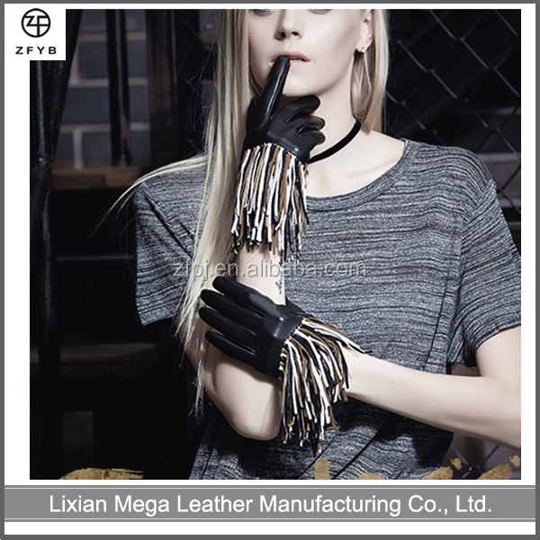 Fashion Italian Dress Ladies Hand Motorcycle Driving Fringed Leather Gloves