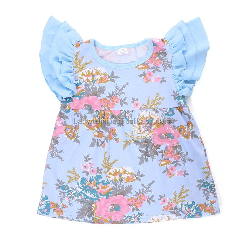 Wholesale boutique flutter sleeve children kids clothes girl clothes