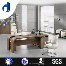 Model F-33 Leather finished wooden desk with side long cabinet, office desk partition office partition system