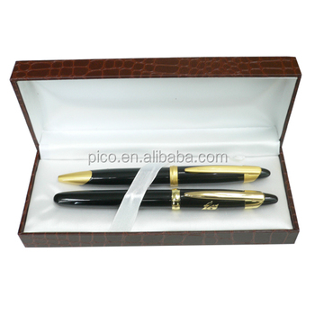 Luxury Metal Ballpoint Pen And Roller Pen Set With Pu Leather Gift Box For Promotion