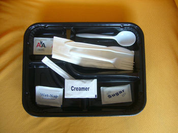 Inflight disposable lunch box with condiment and plastic cutlery kit