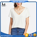 Cheap china wholesale clothing criss cross front v neck t shirt high quality tshirt stretch