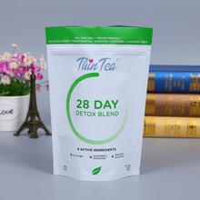 logo printed stand up 14 day 28 day detox blend tea plastic packaging bags
