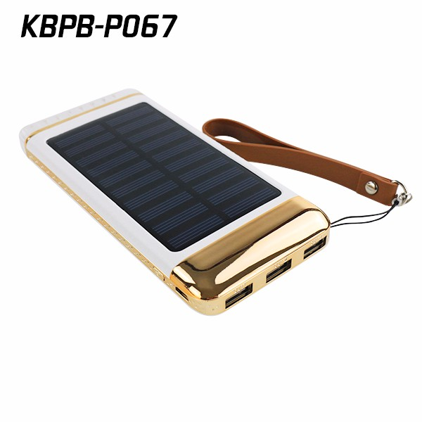 Rechargeable solar battery pack for phone 6000mah polymer charger with LED light