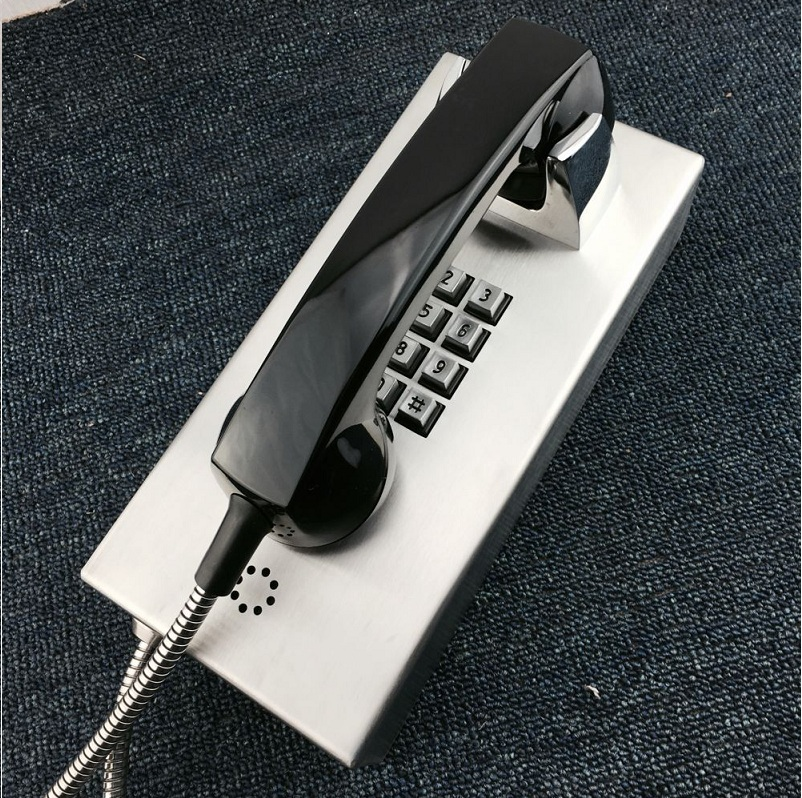 rugged stainless steel analog telephone used in jail system