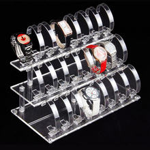 3 Layer Detachable Transparent Acrylic Watch Display Rack Holder Lucite Jewelry Display Shelf with 24 bit