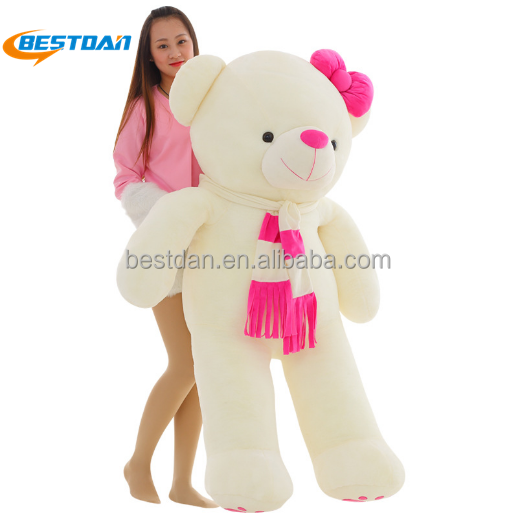 Bestdan factory new style <strong>plush</strong> stuffed super teddy bear giant size with scarf