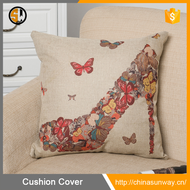 Hot Selling Cotton Linen Square Pillowcase Colorful Butterflies Shoe High Dancing Heels Throw Pillow Shams Cushion Cover 18""