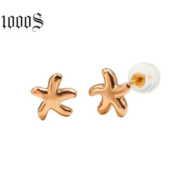 Hot Sale 18K Solid Gold Korea Style 3D Gold Sea Star Earrings Women Wedding Jewelry Custom Design Made in China Earring Studs