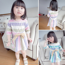 MS63990C fashion striped cotton linen summer dress high quality baby clothing