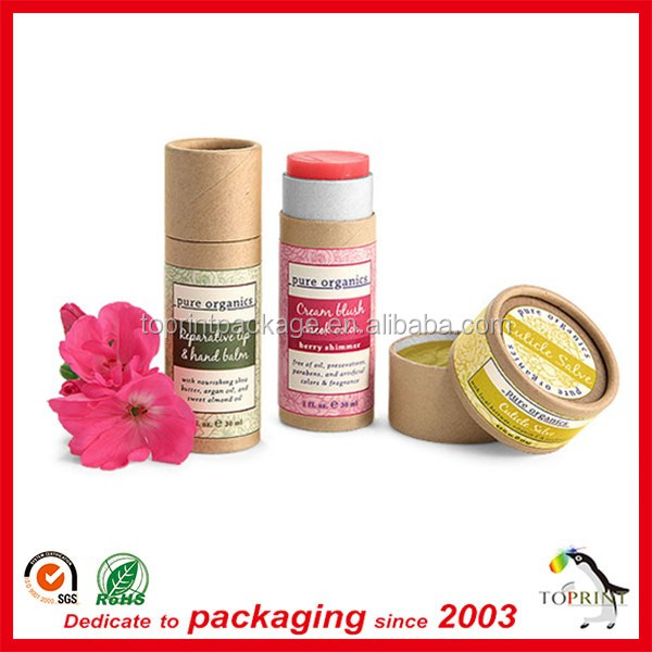 custom oil resistant eco-friendly push up paper tube for lip balm packaging