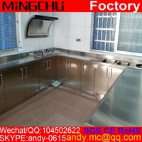 Masterpiece hotel project artificial marble stainless steel kitchen sink cabinet modular ss 304 ss316 pantry cupboard