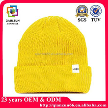 Knitting winter hat label yellow cheap sports beanie