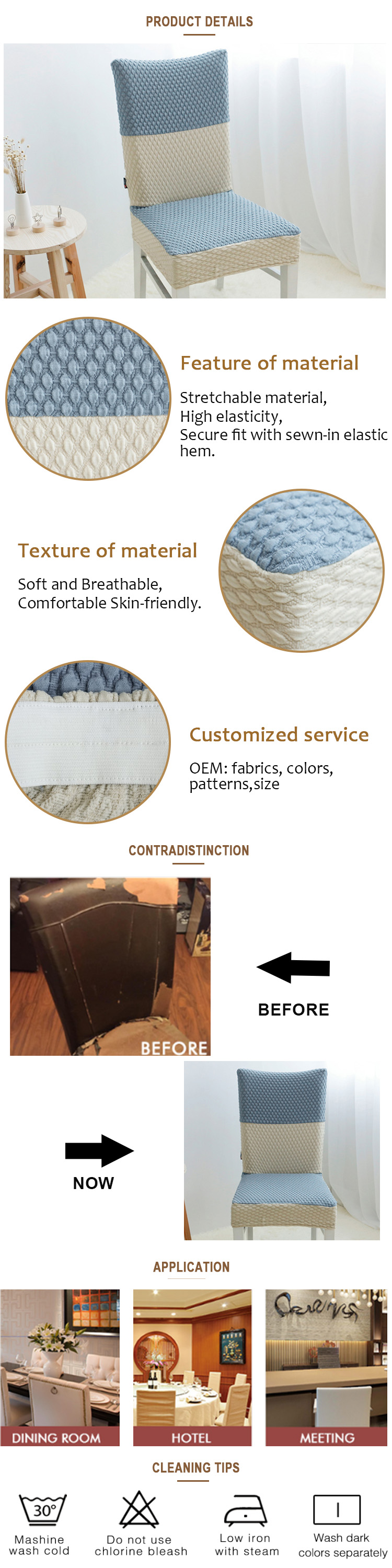 Modern hot sale popular cheap polyester chair covers spandex decoration chair covers