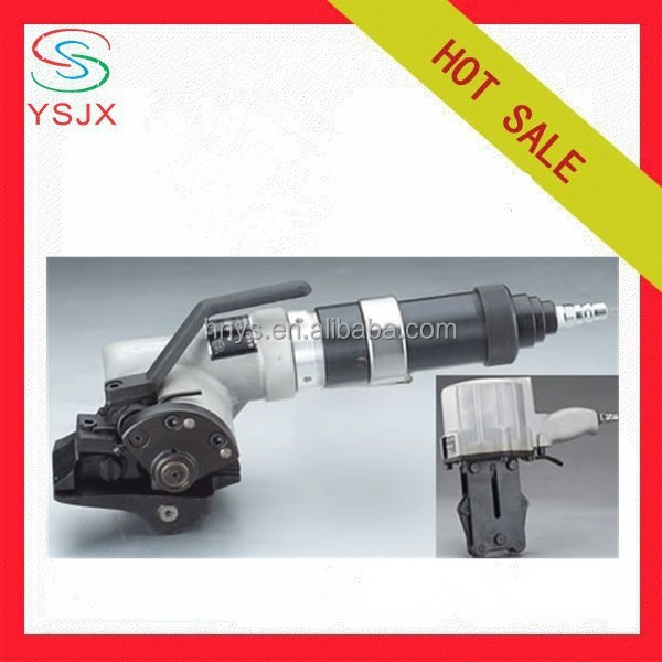Pneumatic portable strapping machine for steel belt