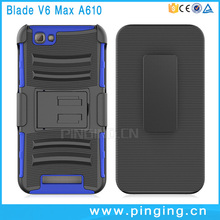 3 in 1 pc tpu combo hard kickstand mobile phone case for ZTE Blade V6 Max A610 , belt clip case for ZTE Blade V6 Max A610
