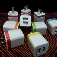 Colorful 5V 2A dual usb wall charger for iphone , for iphone wall charger