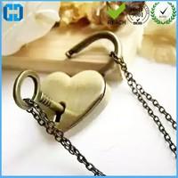 Fashionable Heart Shape Padlock Key Lock With Chain High Quality