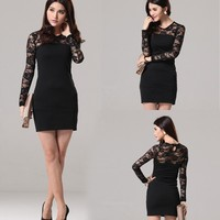 New Women Long Sleeve Lace Splice above knee cocktail dresses