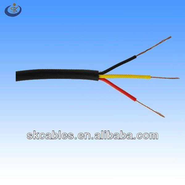 IEC RVV 3*0.75mm2 multi stranded bare copper conductor material pvc insulated electrical wire and cable