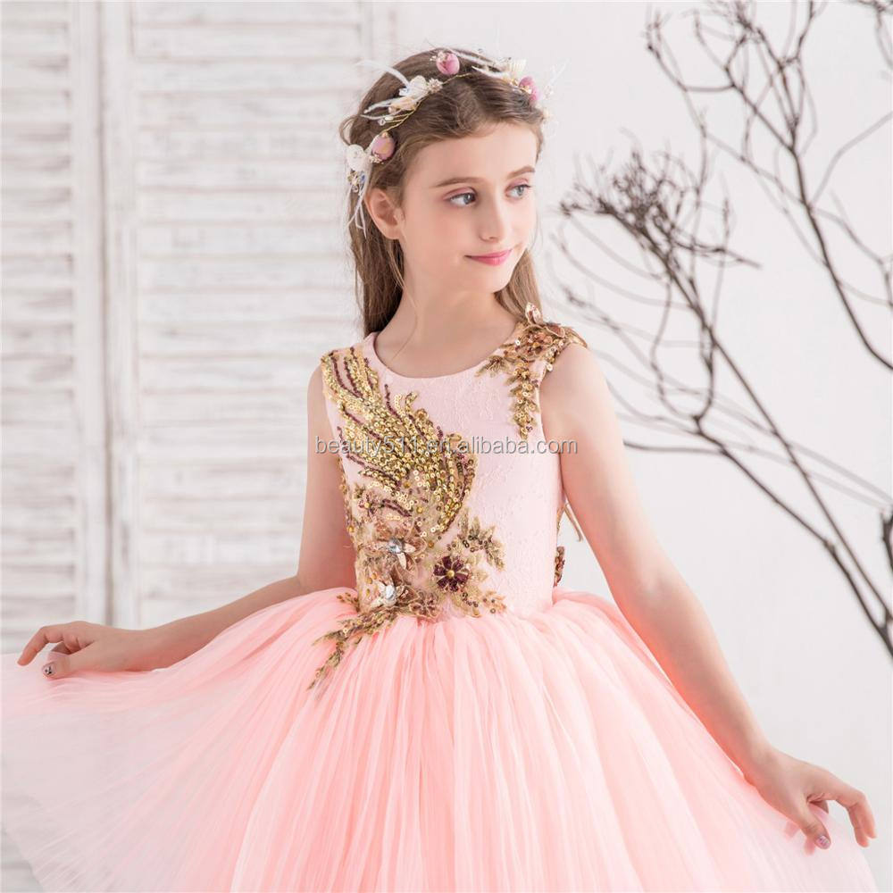 2018 wholesale hand made beads princess party pink tulle wedding party cute girls kids dresses flower girl dresses