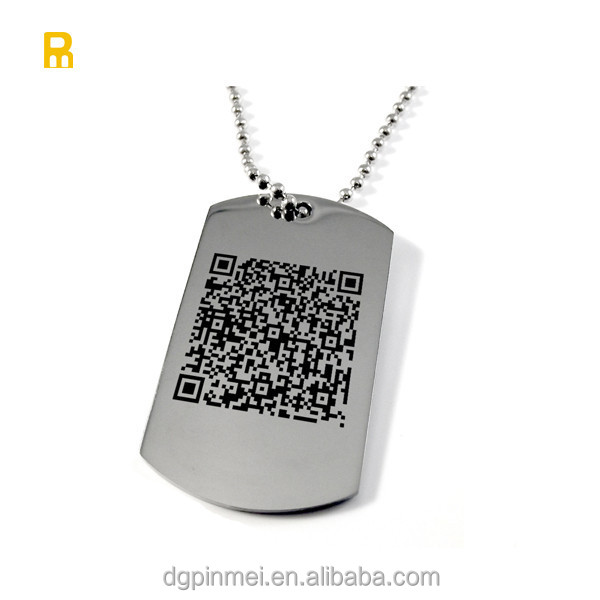 Custom laser engraved qr code id code stainless steel dog tags