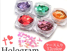 Hot sale heart cross mix nail art flake nail art glitter shinning nail art decorations 12colors