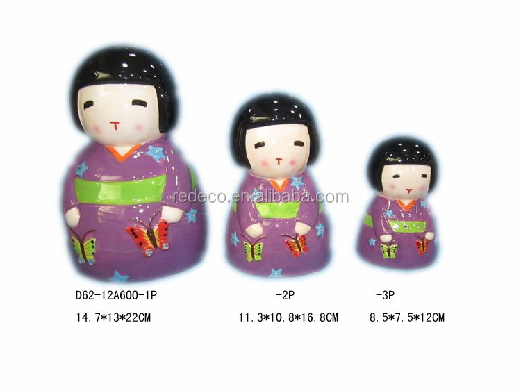 Ceramic mini Japanese girl piggy money coin bank