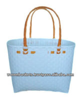Cheap Woven Baskets Shopping weaving Bag(ATM-F5) with White or Colorful made from Plastic Straps Polypropylene pp