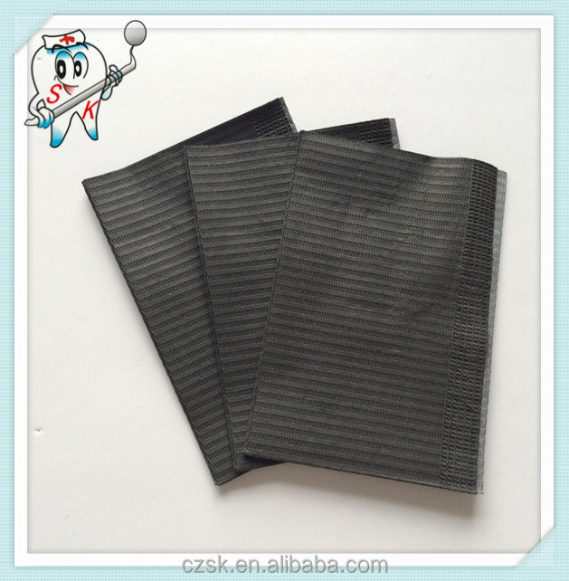 2 Ply Paper + 1 Ply Poly Film black Dental Products China Disposable Medical Dental Bib