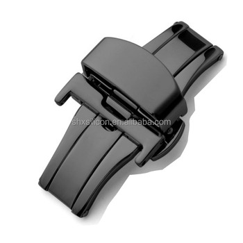 Black quick release safety stainless steel watch clasp