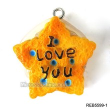 Artifical lovely star resin biscuit food charm pendant