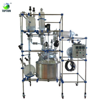 TOPT-80L jacketed high pressure glass reactor double layer glass reactor