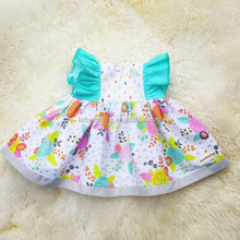 New arrival childrens fluffy sleeve summer casual cotton dresses