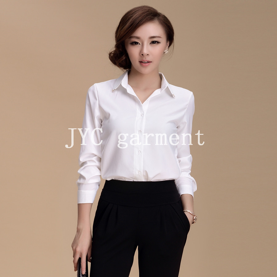 Classic slim fit formal shirts for lady office shirts cotton shirts
