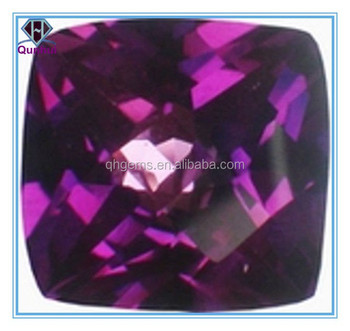 fat square shaped purplish red cubic zirconia stone
