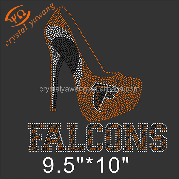 hotfix design iron on atlanta falcon rhinestone transfers wholesale