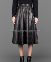 BLACK 100% REAL LAMB LEATHER SKIRT