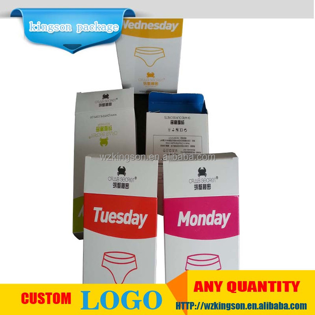 OEM logo printing underwear packaging paper box