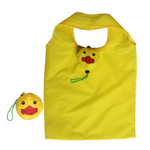 Hot sale nylon recycled pouch style reusable polyester foldable shopping bag in a yellow duck