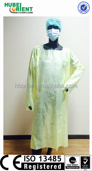 Disposable PE Coated PP Waterproof Isolation Gown