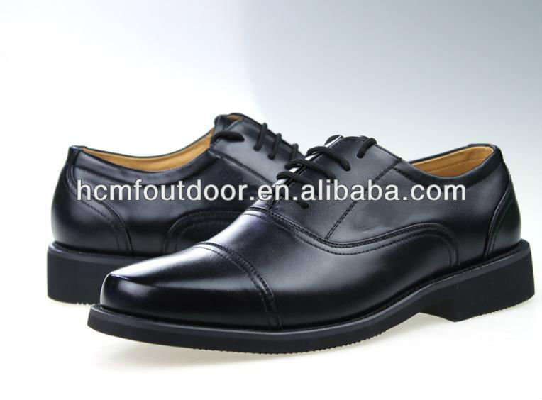 Black leather military Office Shoes
