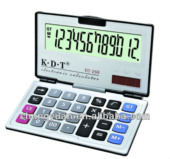 12 digits pocket calculator with cover, foldable calculator DT-268