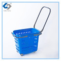 Durable rolling plastic Shopping Basket for wholesale with wheels