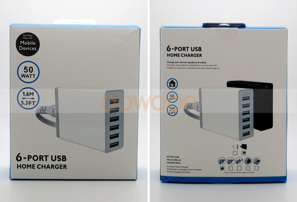 6 Port USB Charger 5V 10A 50W Power Adapter Wall Charger for iPhone iPad Android
