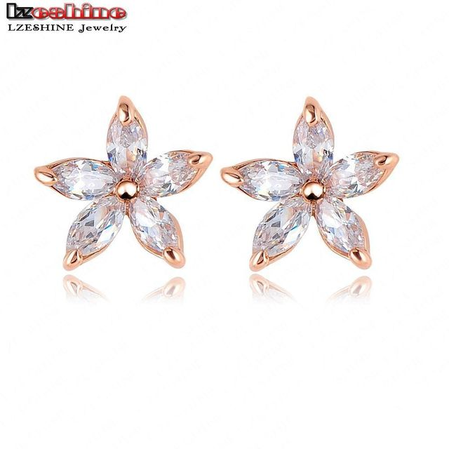 LZESHINE Small Stud Earrings Rose Gold Plated SWA Elements Austrian Crystal Five Leaves Flower Earring/Pendientes ER0156-A